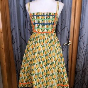 Free People 4 geometric Sundress green yellow